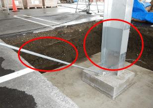 新設の鉄骨柱(溶融亜鉛めっき)にトモリック塗布